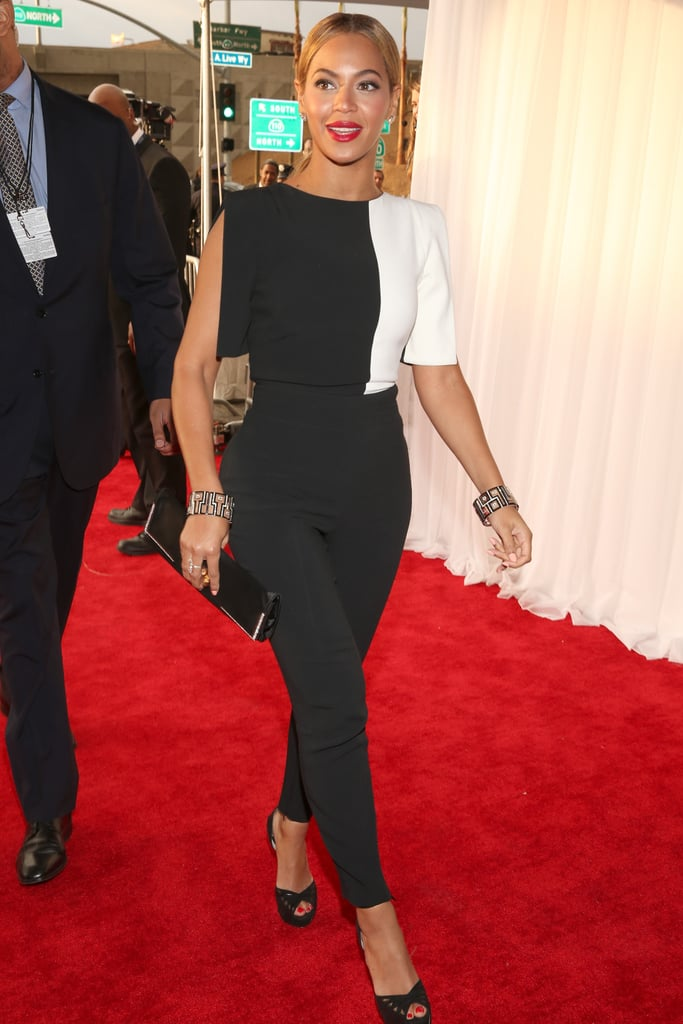 Beyoncé arrived at the Grammys in a black and white jumpsuit.