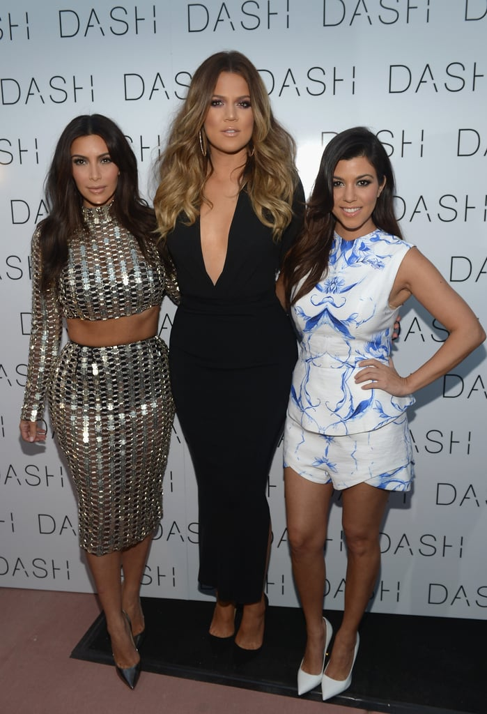 Kim, Khloé, and Kourtney Kardashian celebrated the opening of their latest Dash store in Miami on Tuesday.