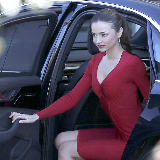 Miranda Kerr Wearing a Red Dress at Photo Shoot   Pictures