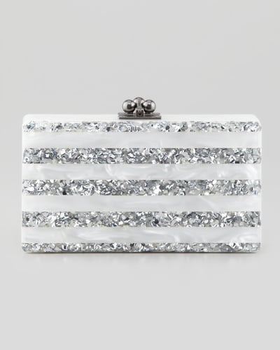 Edie Parker Jean Striped Acrylic Confetti Clutch Bag, White/Silver