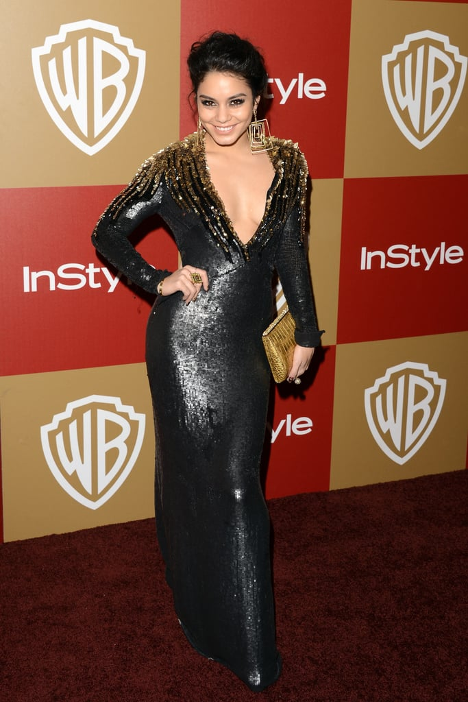 Vanessa Hudgens dared to bare a little cleavage in this floor-length Jenny Packham sequin-heavy number at the InStyle shindig.