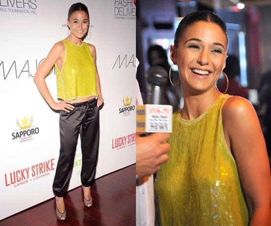 Emmanuelle Chriqui Wearing Yellow Sequined Rachel Roy Top, Silk Maggie Ward Pants, and Louis Vuitton Shoes