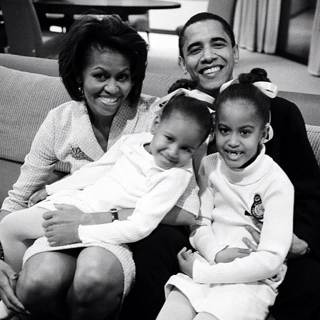 """Michelle Obama shared a throwback photo of the first family, writing, """"#HappyFathersDay, Barack! Our girls are lucky to have such a great Dad."""" Source: Instagram user michelleobama"""