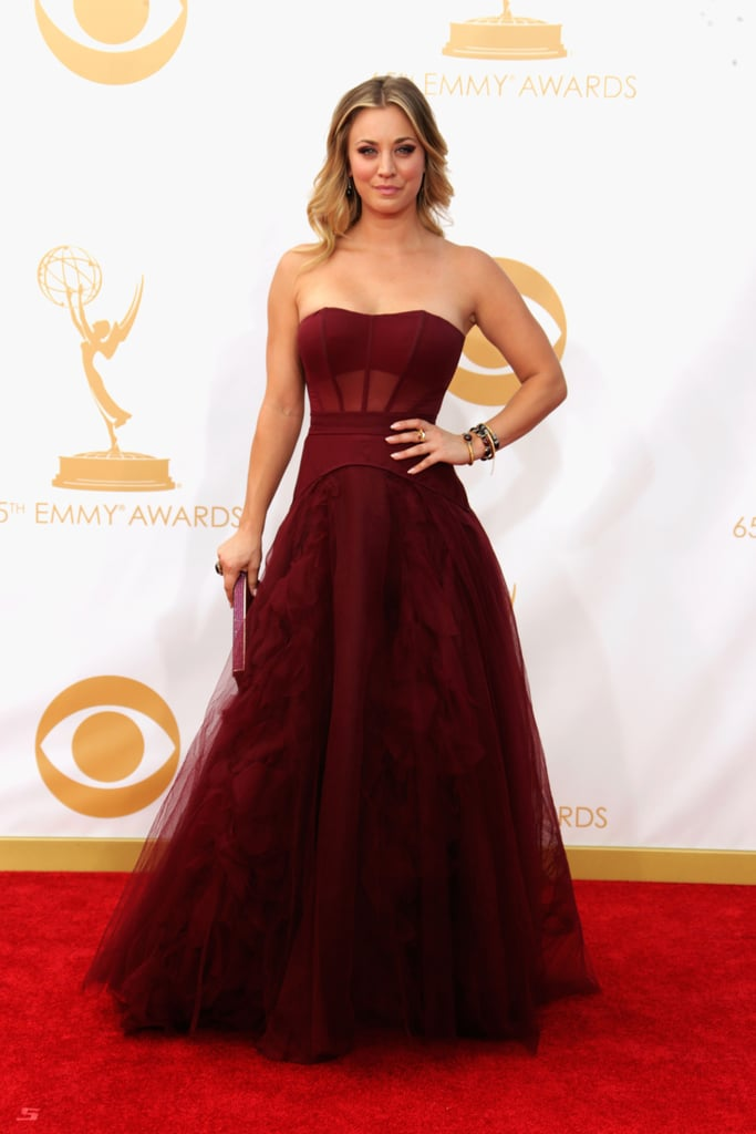 Kaley Cuoco hit the Emmys red carpet.