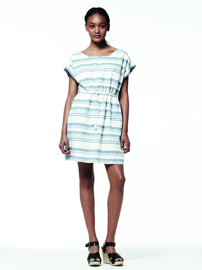 How crisp and preppy is this relaxed striped shift dress?