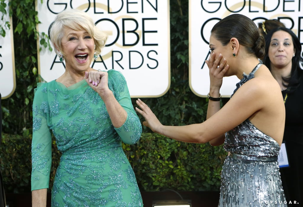 Something was seriously funny between Helen Mirren and Mila Kunis.
