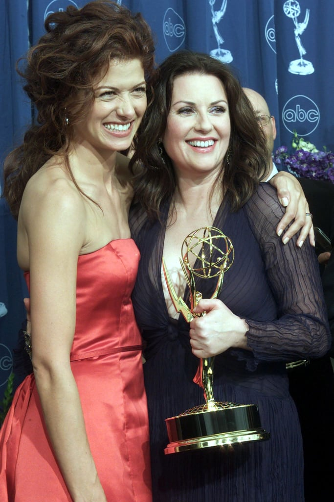 Will and Grace co-stars Debra Messing and Megan Mullally shared a hug in 2000.