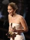 Jennifer Lawrence showed her excitement after winning best actress.