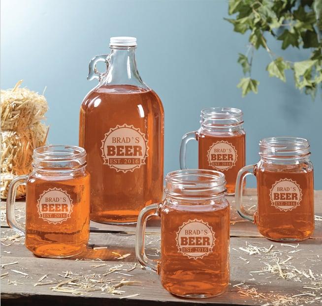 Home Wet Bar's Growler and Mason Jar Mugs