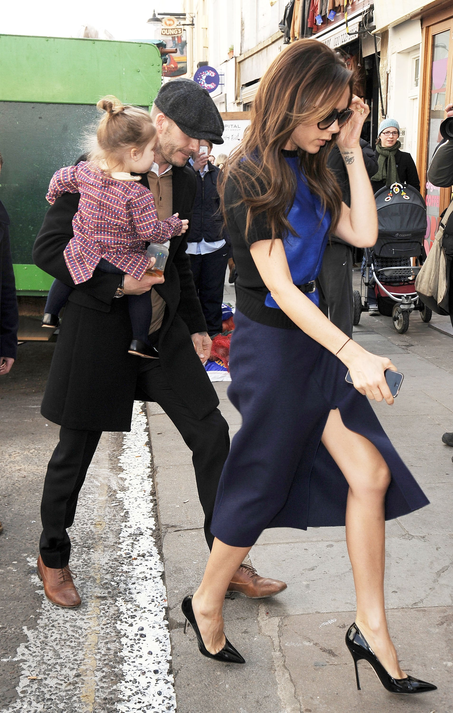 Victoria and David Beckham walked in London with their family on Sunday.
