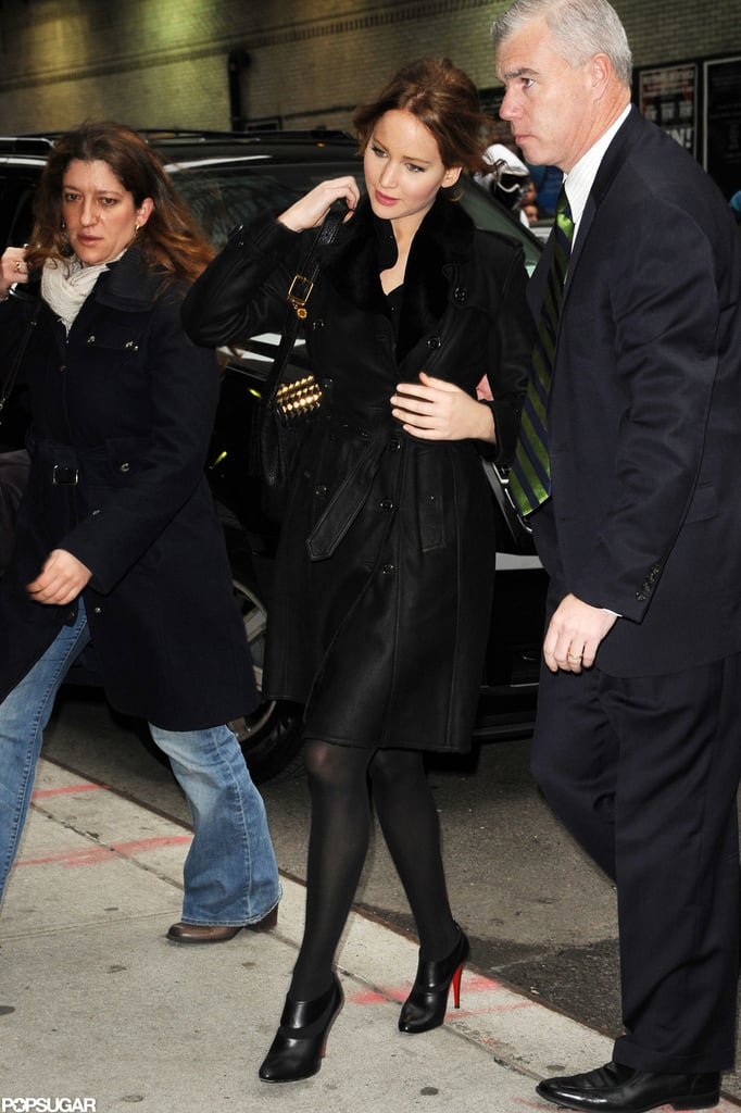 Jennifer Lawrence arrived at Late Show with David Letterman.