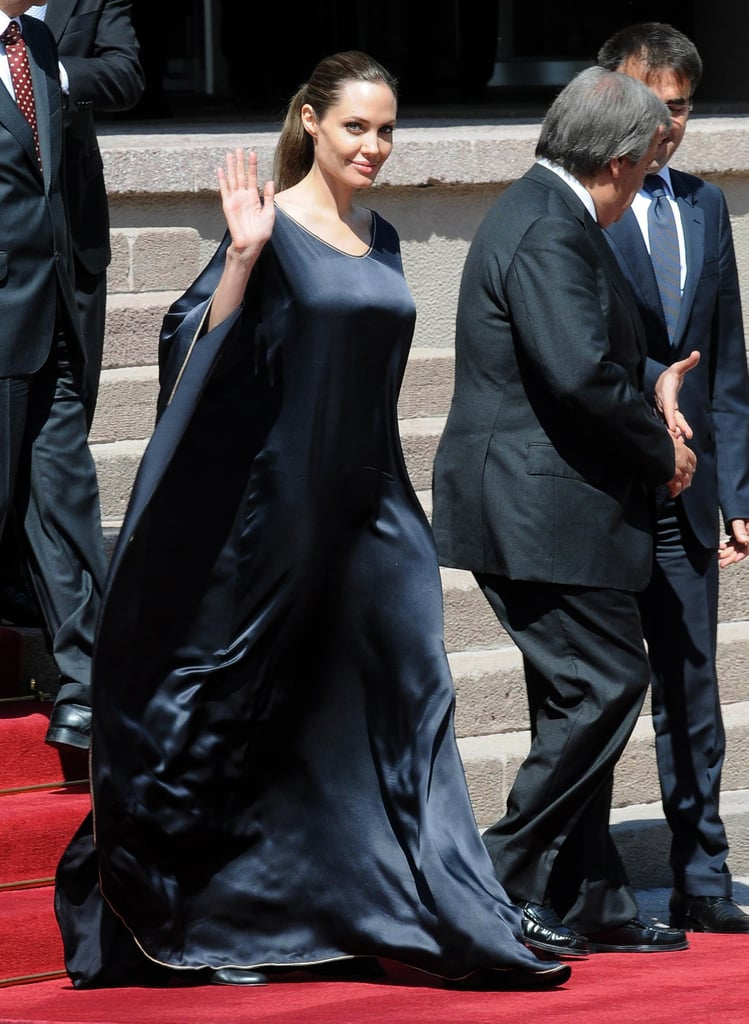Angelina Jolie donned a long black dress in Turkey in September.