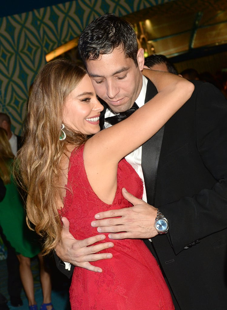 Sofia Vergara hugged Nick Loeb at the 2013 HBO Emmys afterparty.