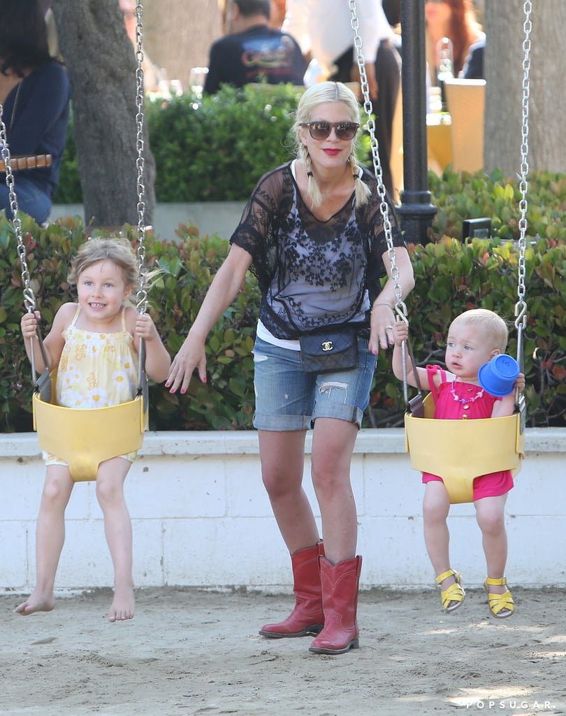 Tori Spelling gave her daughters, Stella and Hattie McDermott, a sweet push at an LA park on Sunday.