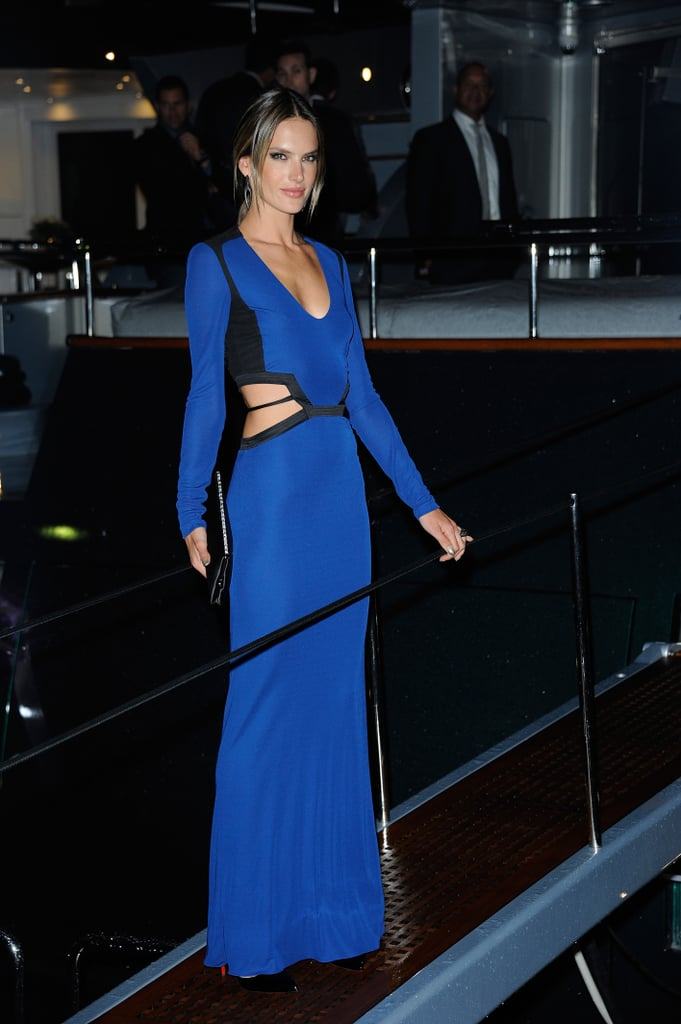 Alessandra Ambrosio boarded Roberto Cavalli's yacht party in Cannes on Wednesday night.