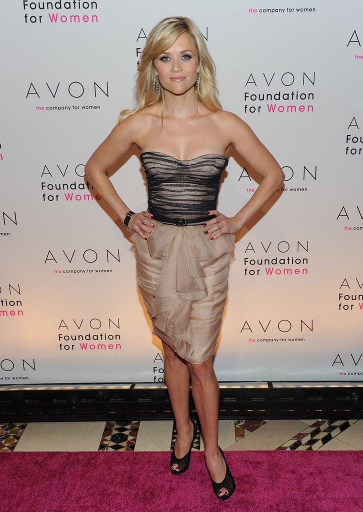 For the 10th anniversary Avon Foundation For Women Gala in October 2010, Reese went glam in a formfitting Jason Wu bustier dress.