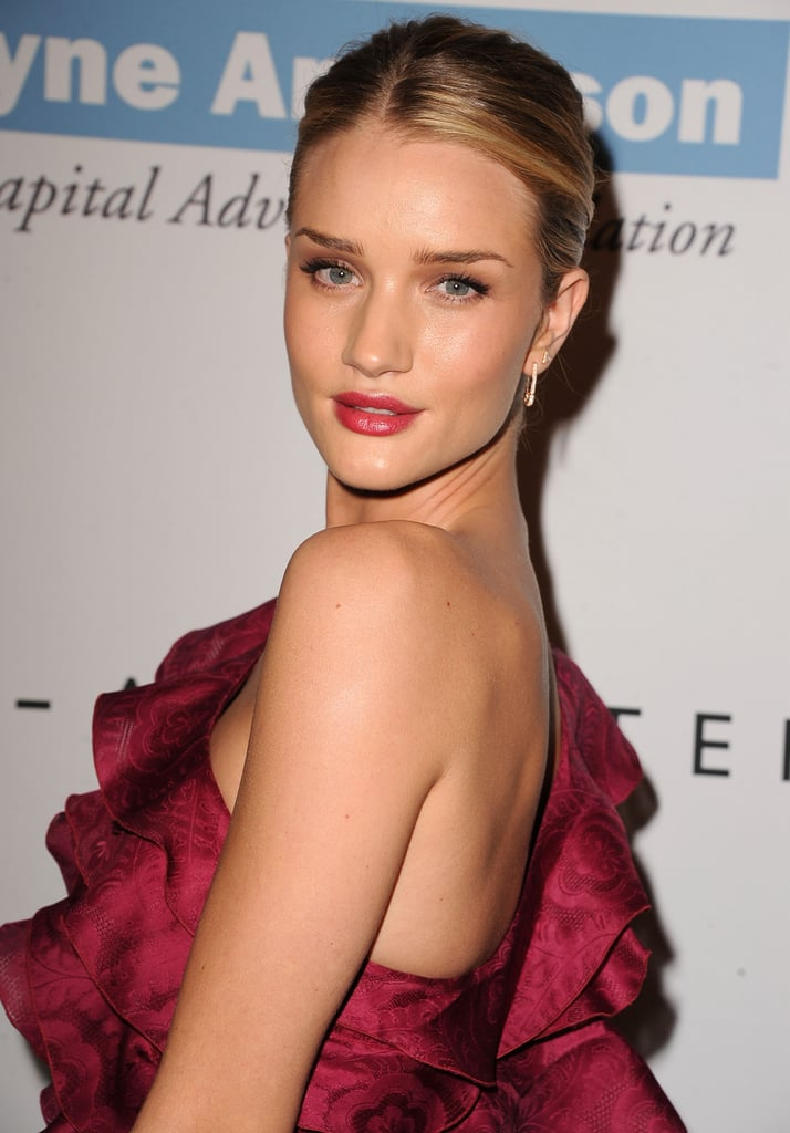 Rosie Huntington-Whitely paired a braided chignon with a berry lip at the second annual Baby2Baby Gala.