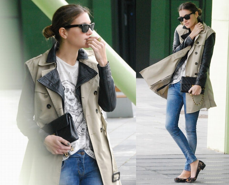 Leopard ballet flats and a leather-sleeved trench coat make for a slick laid-back affair. Photo courtesy of Lookbook.nu
