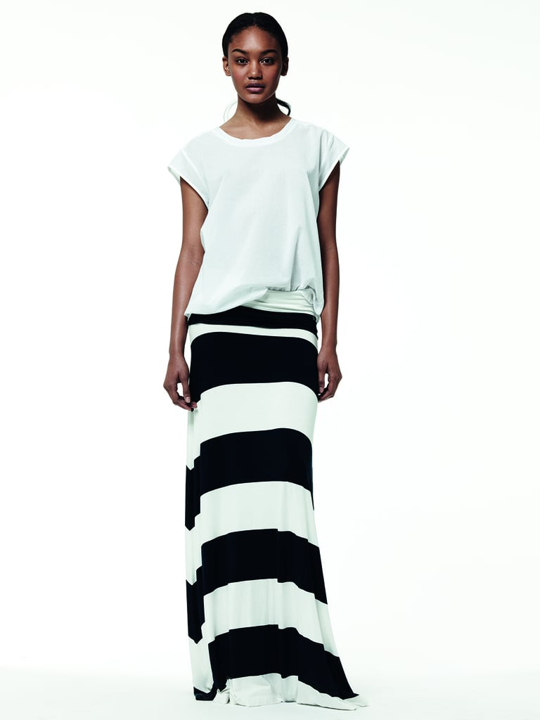 Looser silhouettes get a printed upgrade via long striped maxi skirts.