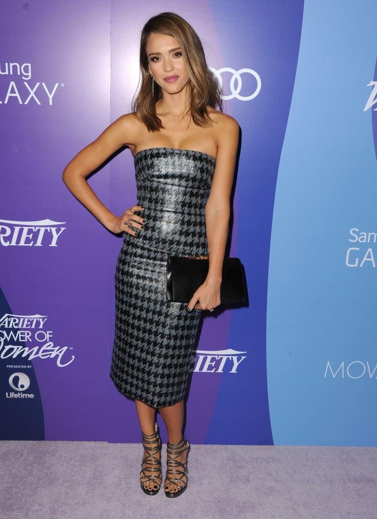 Jessica Alba in Houndstooth Dior Dress