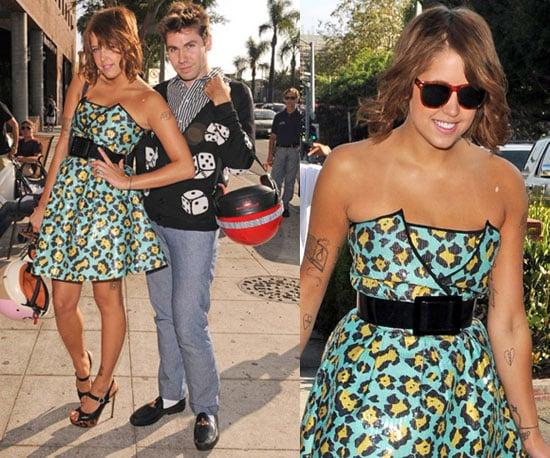 Peaches Geldof at Millions of Milkshades Wearing a Leopard Betsey Johnson Dress