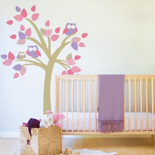 Tree With Owls Fabric Decal ($78)