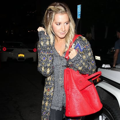 Ashley Tisdale Wearing Black Spiked Leather Boots