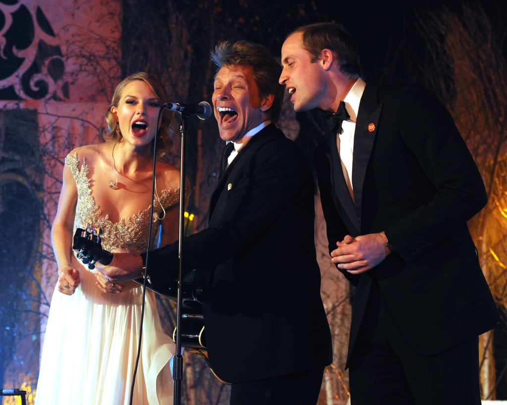 """Prince William joined Taylor Swift and Jon Bon Jovi on stage for a performance of """"Livin' on a Prayer"""" at Kensington Palace in November 2013."""