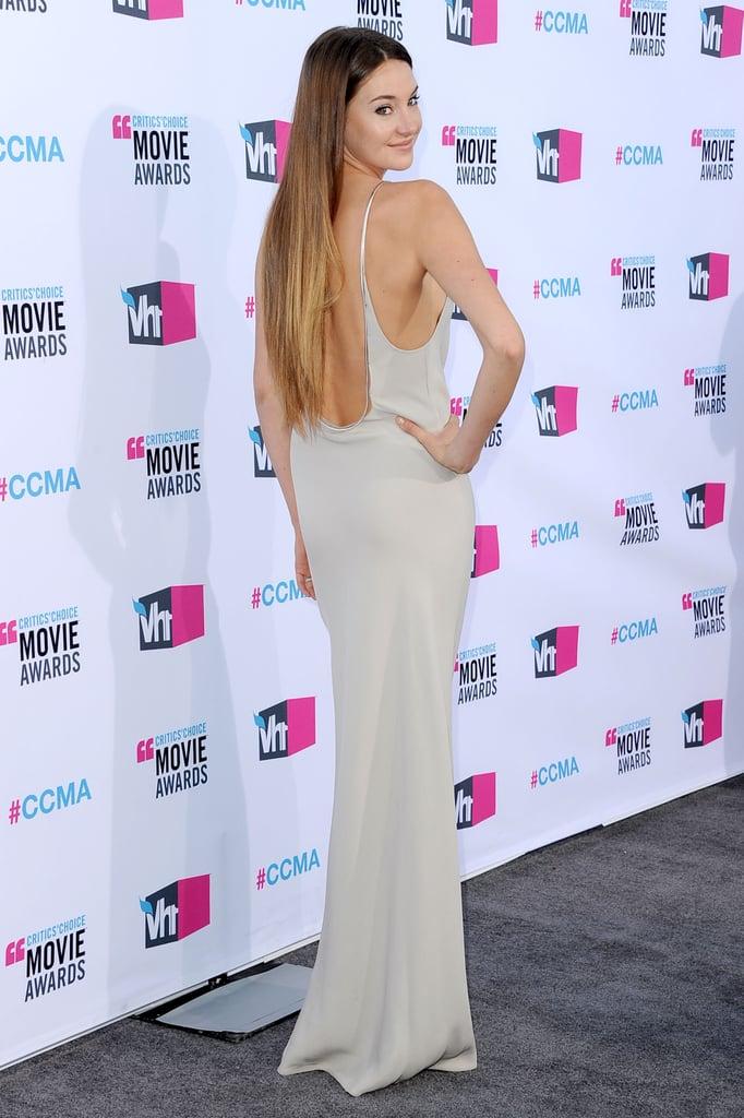 Shailene Woodley showed the back of her dress.