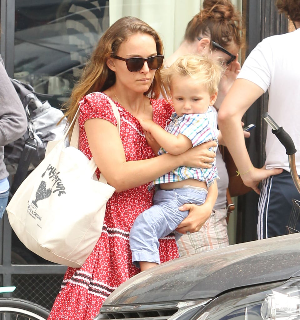 Natalie Portman held on to her son, Aleph Millepied.