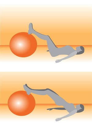 Get on the Ball: Straight Leg Bridge With Ball