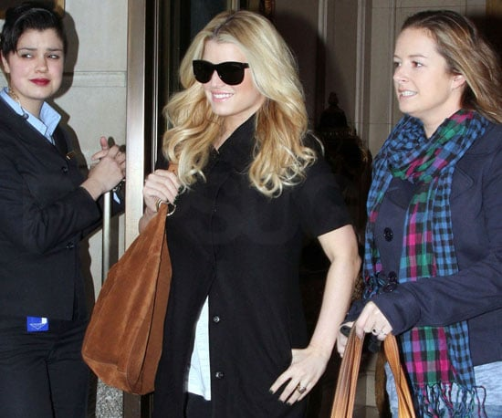 Slide Photo of Jessica Simpson Wearing Sunglasses Out of Her Hotel