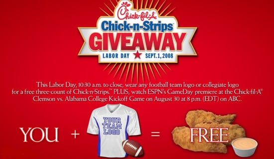Free Chicken Strips at Chick-fil-A on Labor Day
