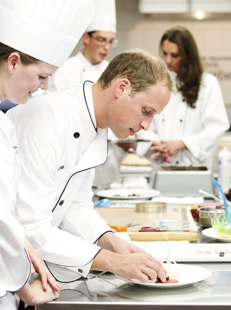 Prince William put the finishing touches on a dish.