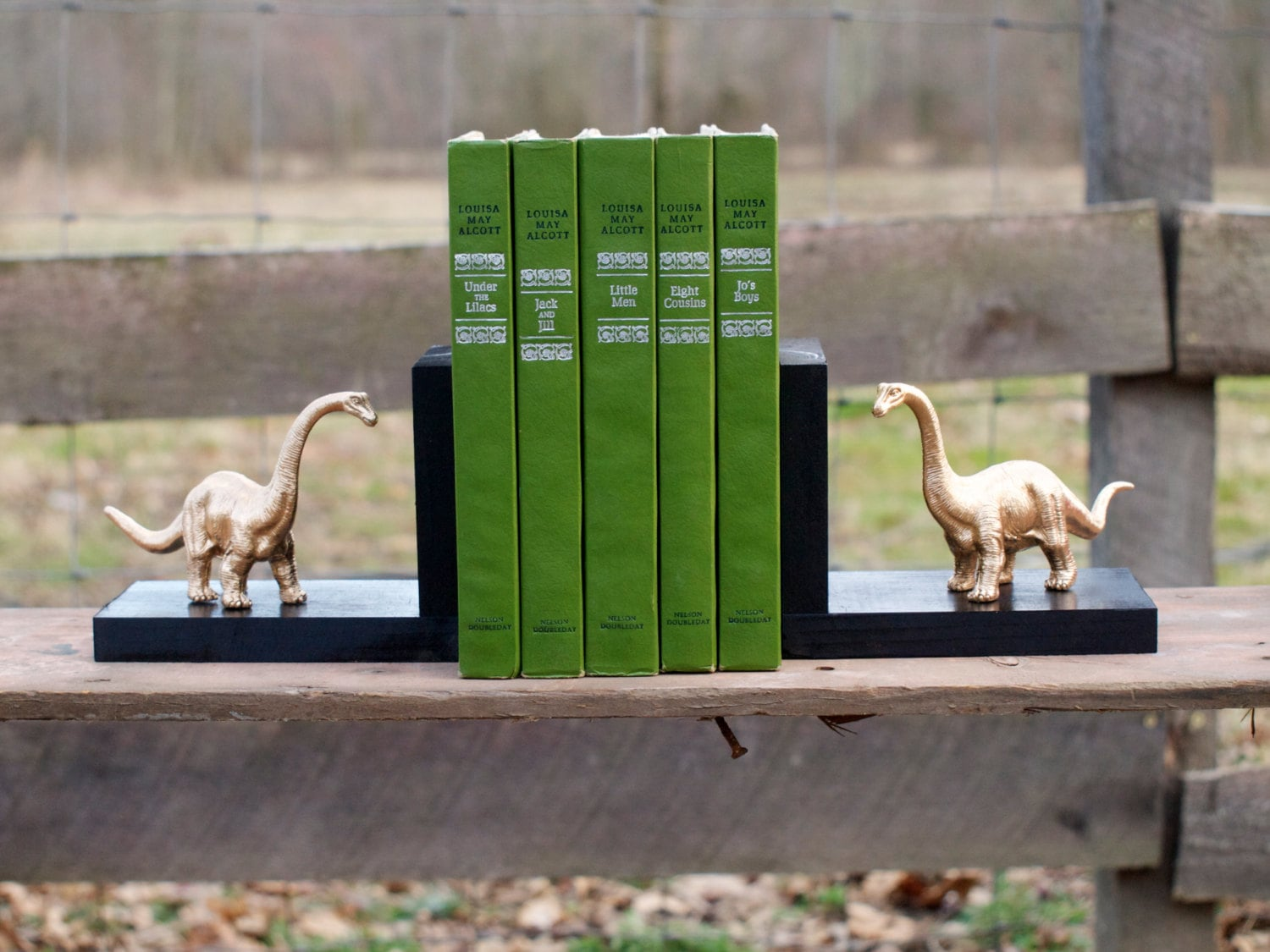 I've given up the hope that I'll just happen upon some dinosaur remains while hiking, so the next best thing to stumbling upon evidence of the creatures that walked Earth millions of years ago — Golden Brontosaurus Dinosaur bookends ($20). Each figurine is packed separately from the wooden bookend so you can arrange the dino any which way you choose.