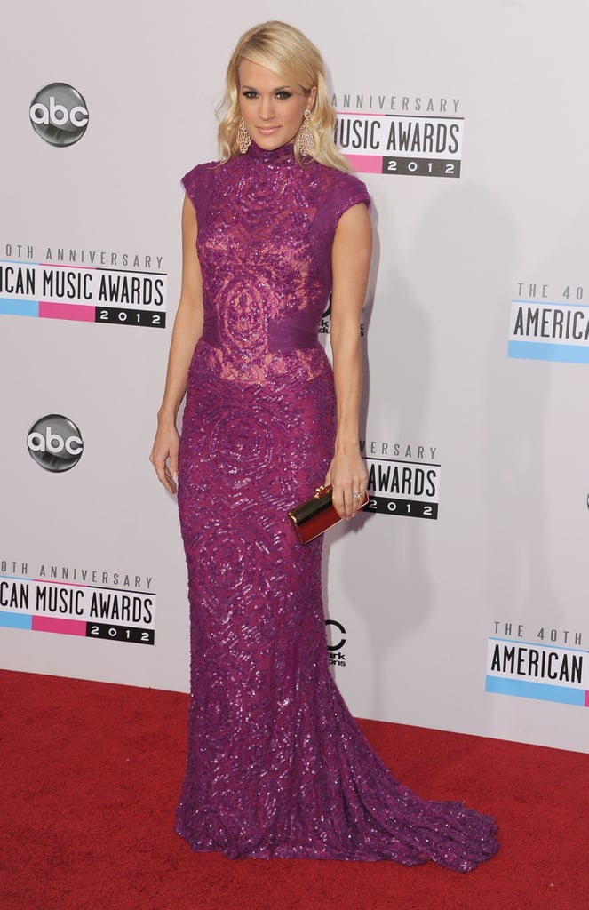 Carrie Underwood wore a long, embellished gown.