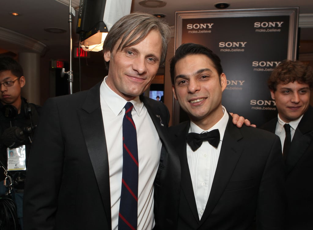 Viggo Mortensen and producer Negar Eskandarfar chatted at the Sony Pictures Golden Globes party.