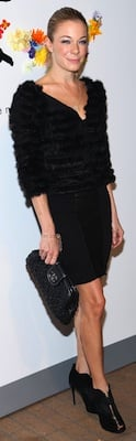 LeAnn Rimes in Leather Dress and Fur Jacket by Alice and Olivia