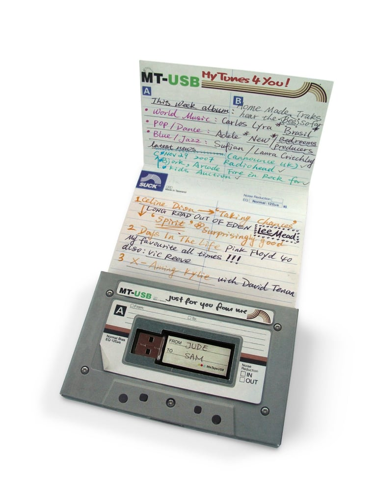 Give her a taste of nostalgia with this mix tape USB stick ($19, originally $30) that holds your handpicked romantic tunes just like the good ol' days.