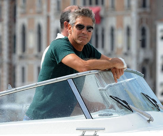 Slide Photo of George Clooney Arriving at 2009 Venice Film Festival in Green Shirt