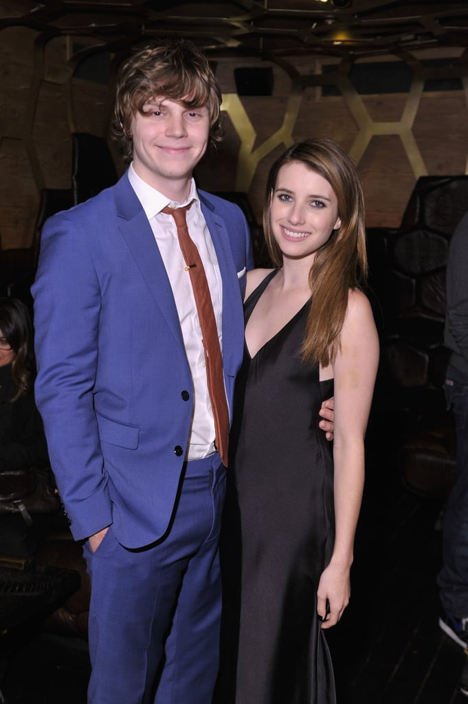 Emma Roberts had support from her boyfriend Evan Peters at a party celebrating her movie Adult World.