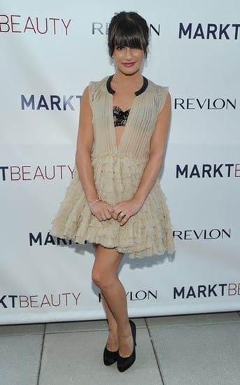 Glee's Lea Michele Wears Nude Ruffly Giambattista Valli Dress
