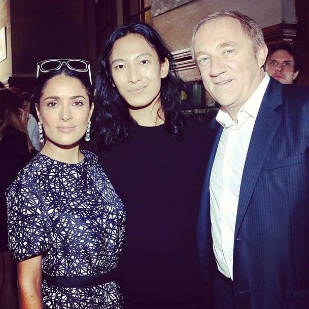 Salma Hayek and Francois-Henri Pinault shared the spotlight with Balenciaga's Alexander Wang after the show. Source: Instagram user buro247ru