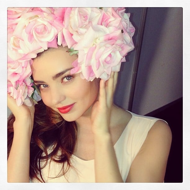 Miranda Kerr wore a gorgeous flower headpiece. Source: Instagram user mirandakerr