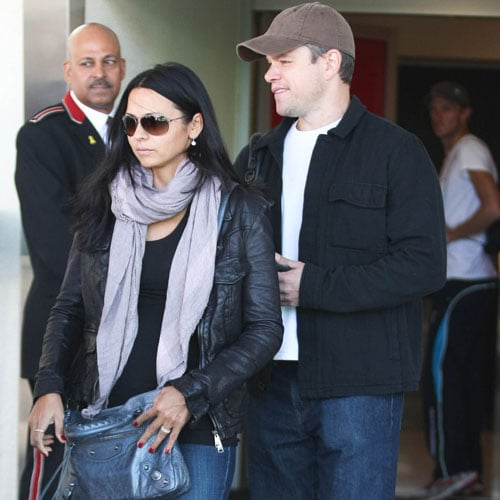 Matt and Luciana Damon Pictures at LAX