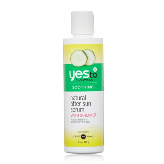 Yes To Cucumbers Natural After-Sun Serum with Shimmer ($10) is a lightweight formula with aloe, green tea, and sea kelp for skin-soothing benefits, but it also has a hint of shimmer to give your skin a nice glow.
