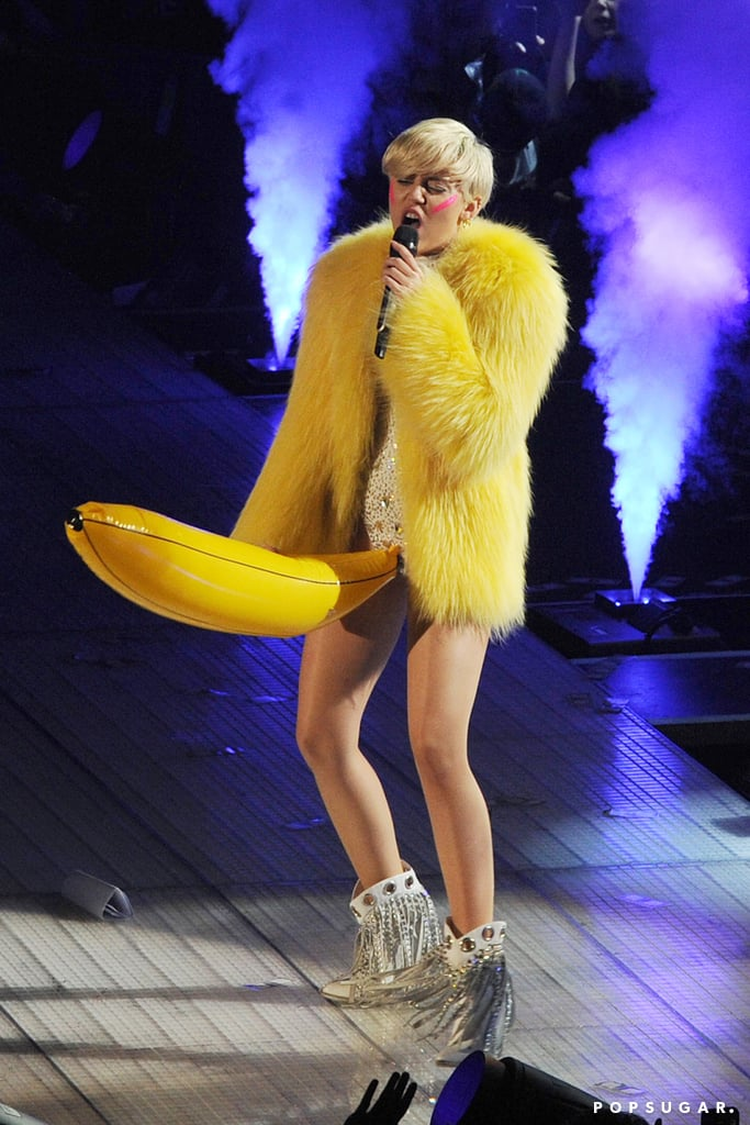 Miley Cyrus performed in a banana costume at the Ziggo Dome in Amsterdam for the final date of her European Bangerz tour on Sunday.