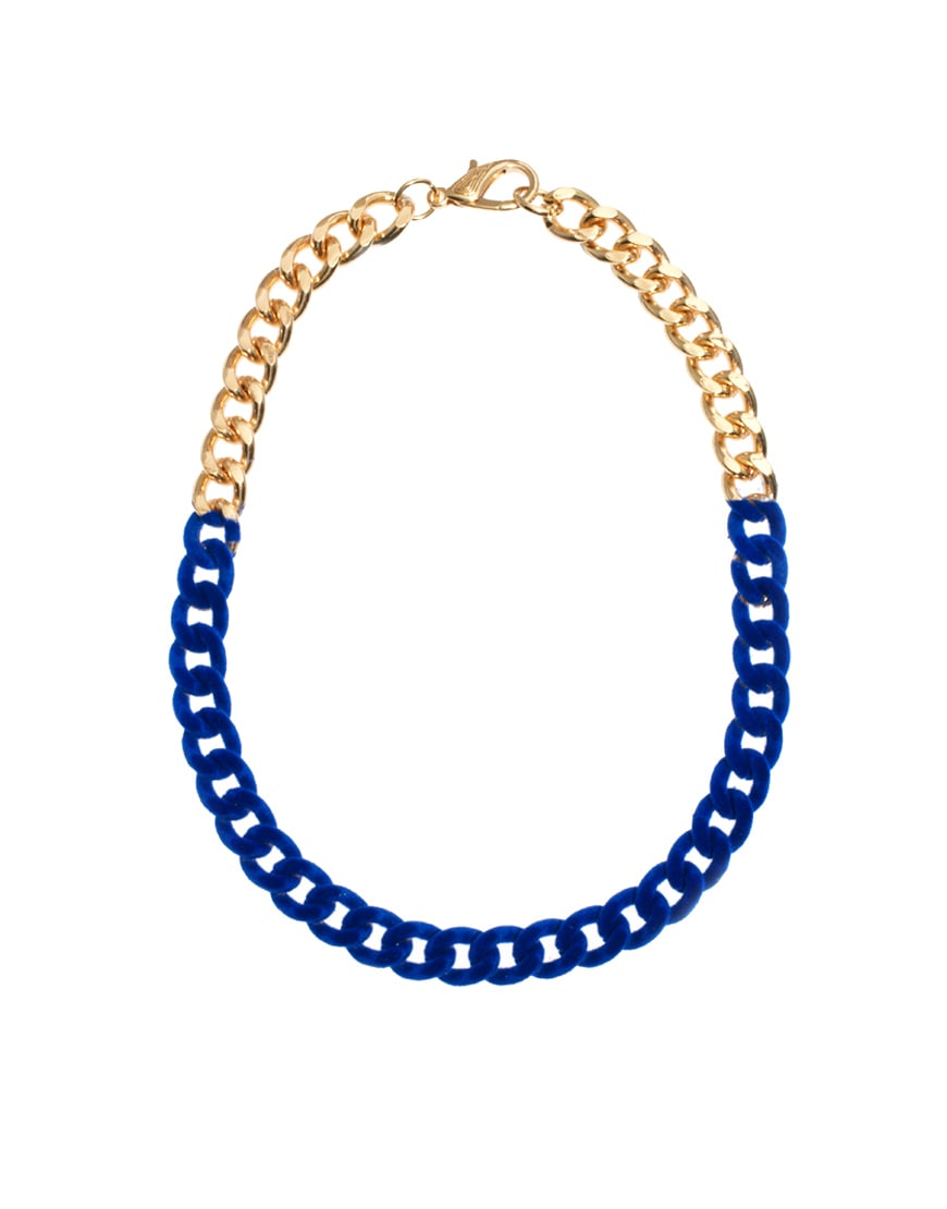 The contrast between the cobalt and gold feels almost regal on this ASOS Flocked Chain Necklace ($31).