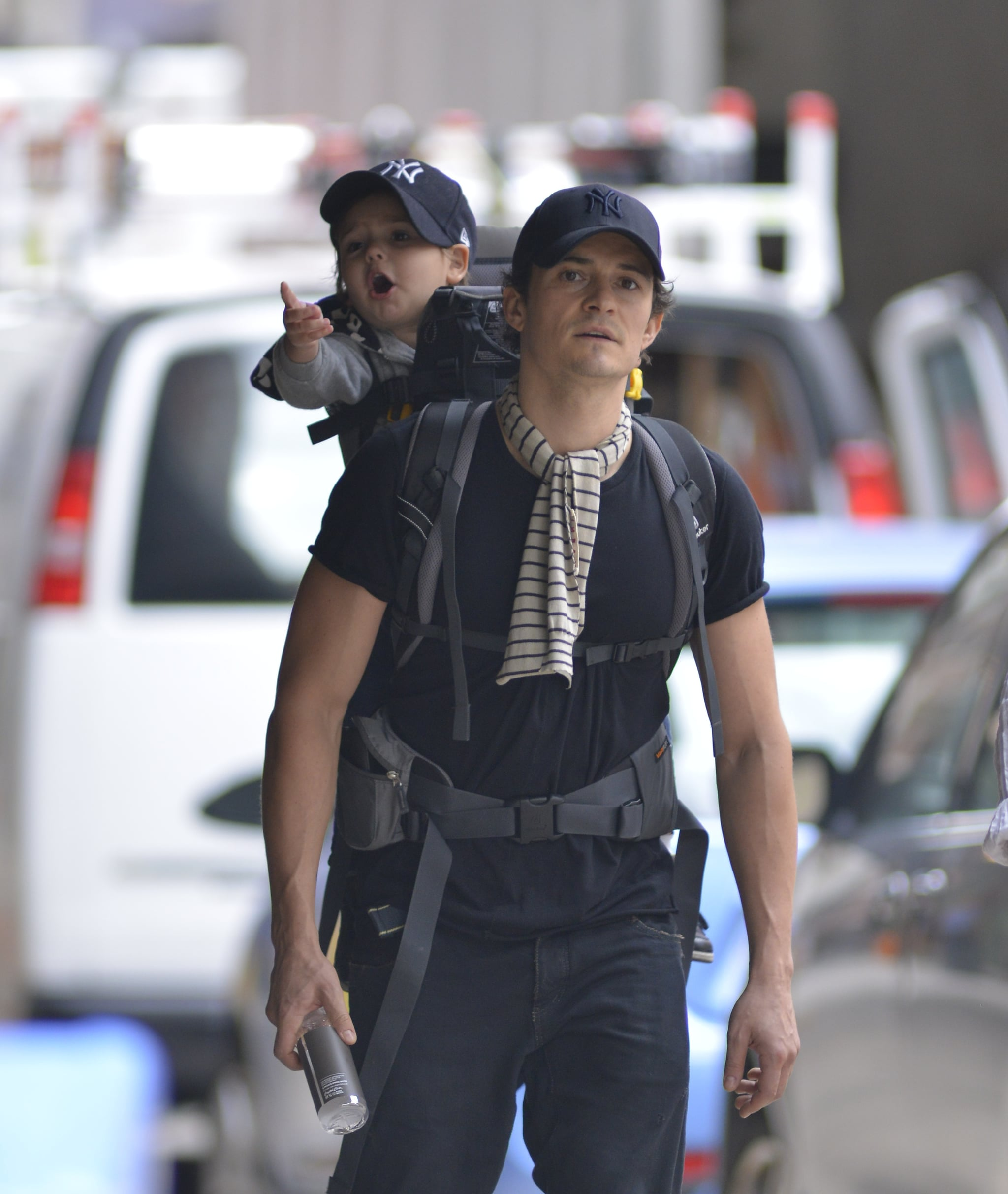 Orlando Bloom took his son, Flynn, out and about in NYC on Monday.