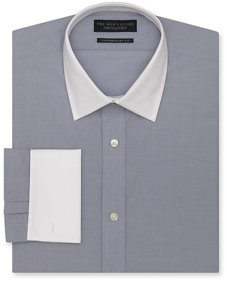 The Men's Store at Bloomingdale's End-on-End White-Collar Dress Shirt - Contemporary Fit